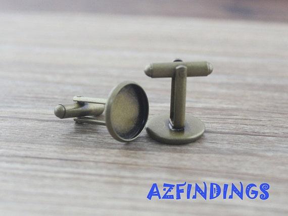 10pcs Rose Gold Brass Cufflink Blanks w// Round Snap Button Bezel Chunks 28x12mm