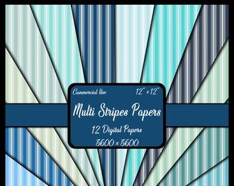 Blue Stripes Digital Paper Pack, Background Paper, Instant Download, Dollhouse Wallpaper, Journal Paper, Scrapbook Paper, Printable Paper