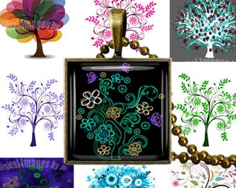 """Colorful Trees Digital Collage Sheet 1"""" square, Printable, Download for Jewelry Making, Bottlecaps, Pendants, Bezel Tray, Pinbacks, Cabochon"""
