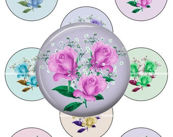 """2.25"""" Floral Images for Tecre Machine with Cut line 2.625"""" for Pocket Mirrors - Pinbacks - Magnets - Keyring, Instant Digital Download"""