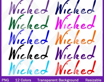 Wicked PNG Digital Images With Transparent Background In 12 Different Colors for Graphics Journals Invitations Paper Packs - Resizable