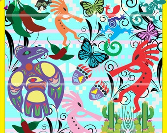 Southwest Clip Art Bundle with Transparent Backgrounds, Kokopelli Lizard Butterfly, Printable Images for Pendants Bottle Caps,Party Supplies