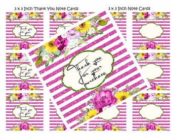"""Floral """"Thank You For Your Purchase"""" and Blank Note Cards, 3x3 Inch, Digital Item One Sided, Thank You Package Insert"""