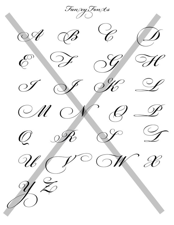 Fancy Fonts Alphabet Collage Sheet 8 5 x11