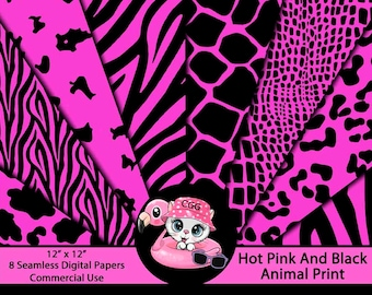Hot Pink and Black Animal Print Digital Paper Pack for Backgrounds - Scrapbooks - Journal Paper - Planner Pages - Sticker Paper