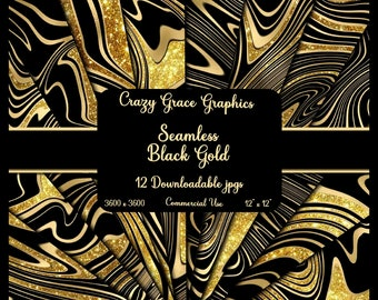 Black and Gold Digital Paper Pack for Backgrounds, Digital Scrapbooking, Seamless Scrapbook Paper, Printables