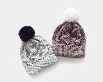 KNITTING PATTERN • Beanie Knitting Pattern • Womens Hat Knitting Pattern