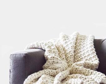 CROCHET PATTERN • Throw Blanket Crochet Pattern • Afghan Crochet Pattern • Bulky Blanket Pattern