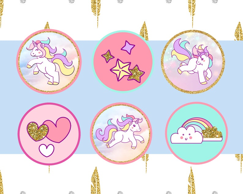 Golden glitter and colorful unicorn themed cupcake toppers for that special little girls special day