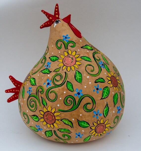 Kitchen Folk Art: Kitchen Rooster Folk Art Chicken Painted Gourd Folk Art