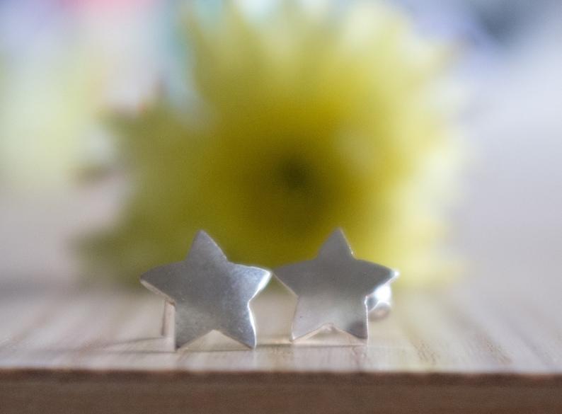 Star Earrings studs sterling silver small earrings 925 silver minimal gift for her celestial everyday earrings birthday gift