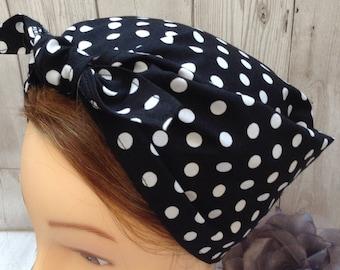 Vintage style retro handmade black and white polka dot headscarf, land girl WW2 forties, Rosie the riveter, rockabilly head scarf