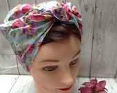 1940s Hair Snoods- Buy, Knit, Crochet or Sew a Snood Vintage style retro handmade chemo headscarf blue roses land girl WW2 forties headwear 1940s reenactment Rosie the riveter vegan bandana $10.83 AT vintagedancer.com