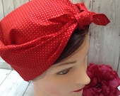 1940s Hair Snoods- Buy, Knit, Crochet or Sew a Snood Vintage style retro handmade red gold polka dot headscarf land girl WW2 forties Rosie the riveter Christmas rockabilly head scarf $11.07 AT vintagedancer.com