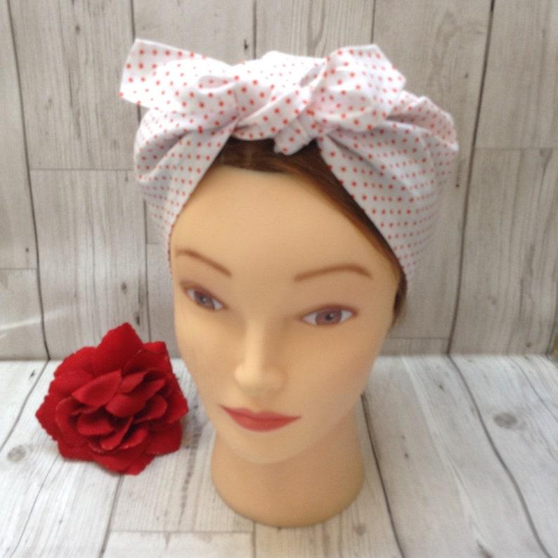 61bfa4c696e44 White and red small polka dot vintage style retro headscarf | Etsy