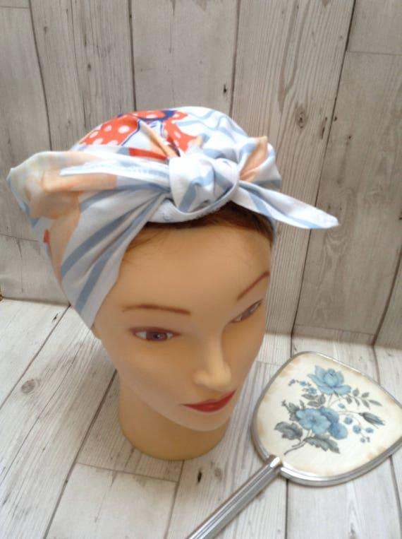 LAND GIRL ROCKABILLY 40s 50s TIE HEADBAND HEAD SCARF MUSTARD /& WHITE