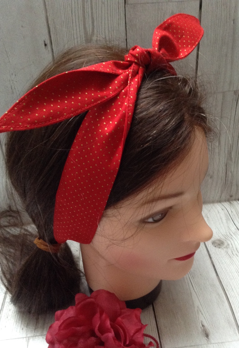 LAND GIRL 1940s 1950s TIE HEADBAND HEAD SCARF PINK VINTAGE FLORAL WARTIME WWII