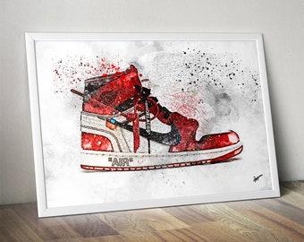 ccbcd6155f4e Off White Air Jordan 1   Nike   Trainer   Sneaker Wall Art Print   Poster  Original Design