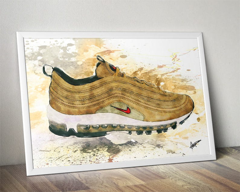 Nike Air Max 97 Gold Trainer Poster