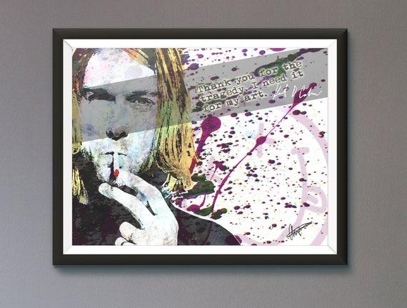 Kurt Cobain Nirvana Wall Art Print / Poster Original Design | Etsy