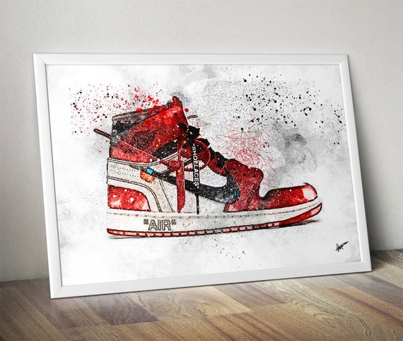 Off White Air Jordan 1 / Nike / Trainer / Sneaker Wall Art Print / Poster Original Design by Etsy