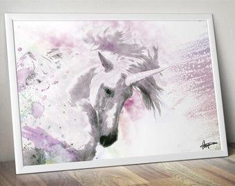 Unicorn Abstract Watercolour Wall Art Print / Poster Original Design A3, A2, A1, A0