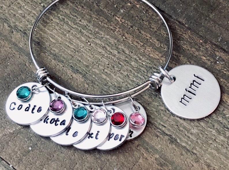 Family tree birthstone bracelet keepsake Mother in law gift engraved Nana gift from grandchildren Grandmother gift name bracelet