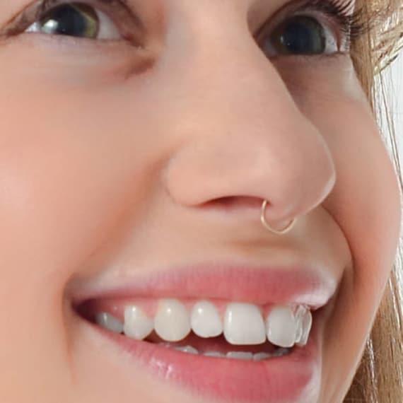 Fake Septum Ring Septum Jewelry Septum Hoop Silver Nose Ring Etsy