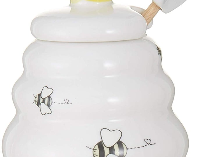 Ceramic Honey Pot and Dipper
