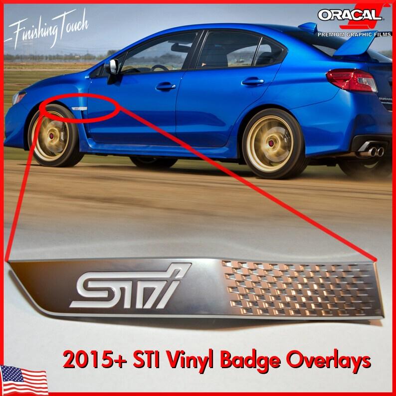 STI fender badge inlays emblem overlay vinyl decal insert stickers Subaru  2015 2016 2017 Subie Graphic custom lettering