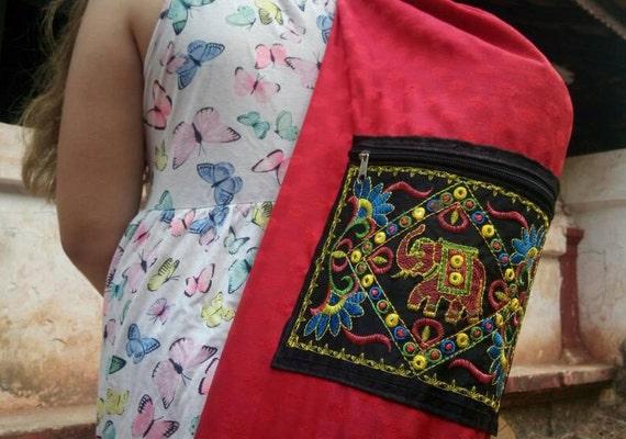 Red Yoga Mat Bag Banjara Embroidery Red Elefant Bag  dcbbee7fb535b
