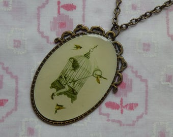 Vintage Lady Stuck in a Birdcage Catching Birds Cameo Antique Brass Pendant Necklace