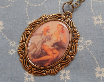 Pin Up Girl On The Telephone Cameo Antique Brass Pendant Necklace