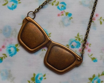 Huge Sunglasses Reading Glasses Antique Plated Charm Quirky Pendant Necklace