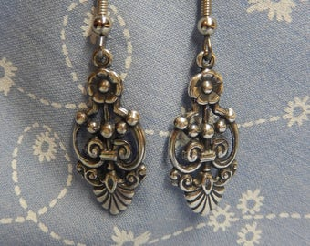 Antique Silver Plated Floral Simple Drop Earrings