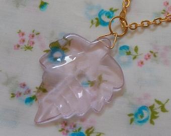 Pink Leaf Glass Translucent Pendant Necklace