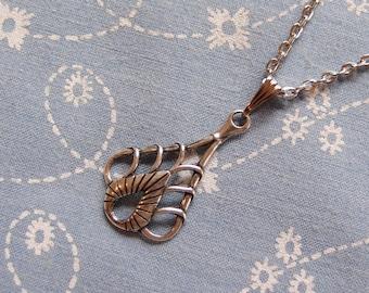 Small Art Deco Teardrop Pendant Necklace