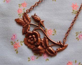 Antique Copper Plated Floral Pendant Necklace