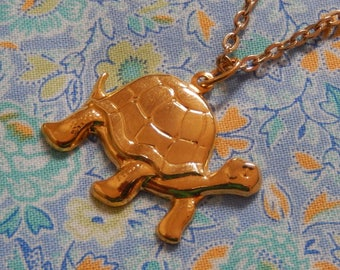 Gold Plated Turtle Pendant Necklace