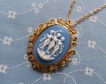 Blue Ladies Dancing Gold Plated Necklace Brooch