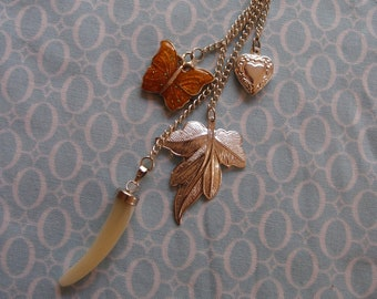 Silver Plated Long Necklace with Leaf Charms and Shell Drop