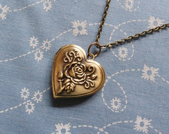 Antique Brass Plated Rose Heart Locket Pendant Necklace