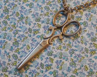 Large Scissors Antique Plated Pendant Necklace