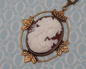 Vintage Curly Hair Cameo Antique Brass Plate Leafy Setting Necklace