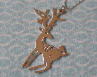 Stag and A Little Swallow Pendant Necklace