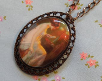 Reading Lady Cameo Necklace Brooch