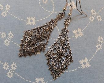 Antique Silver Filigree Drop Earrings