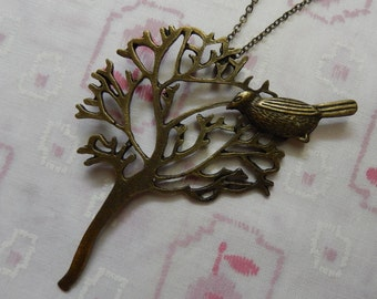 BIrd Sitting in the Tree Pendant Necklace