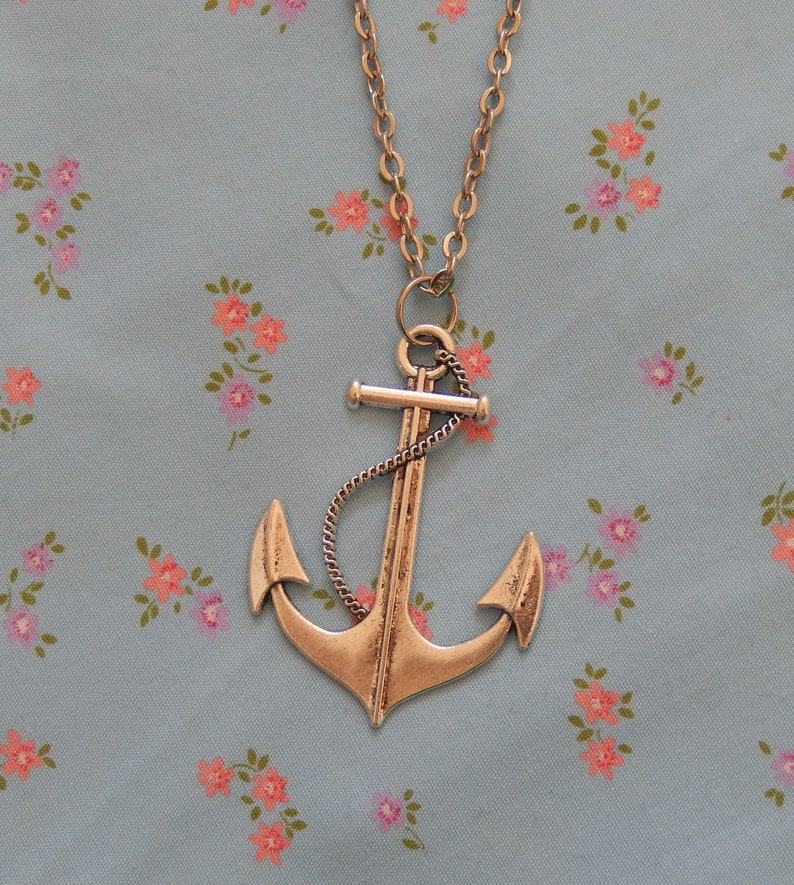 Antique Silver Plated Anchor Nautical Pendant Necklace