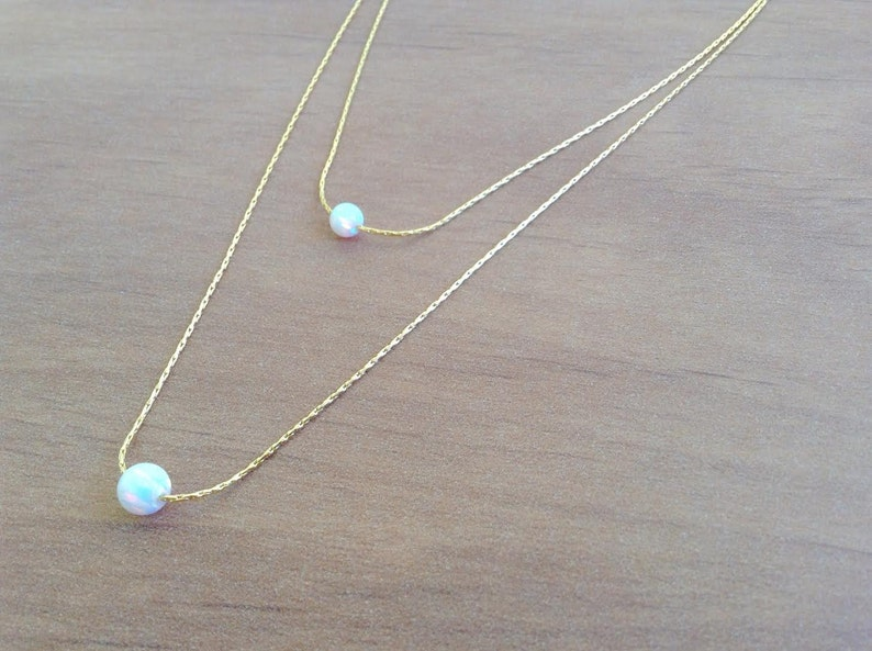 Opal Necklace White Opal Necklace Bridesmaid gift Dainty Necklace Opal /& Gold Necklace Bridal Necklace Wedding Necklace